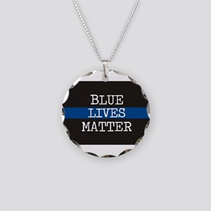 Blue Lives Matter Necklace Circle Charm