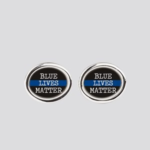 Blue Lives Matter Oval Cufflinks