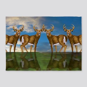 White Tail Bucks 5'x7'Area Rug