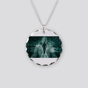 Embracing New Tech Necklace Circle Charm