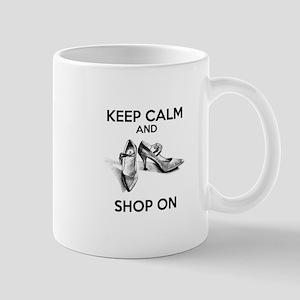 Keep Calm and Shop on High Heels Mugs