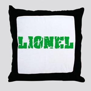 Lionel Name Weathered Green Design Throw Pillow