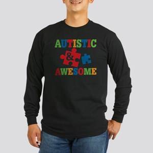 Autistic Awesome Long Sleeve Dark T-Shirt