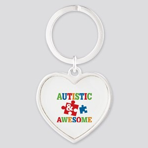Autistic Awesome Heart Keychain