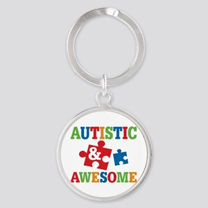 Autistic Awesome Round Keychain