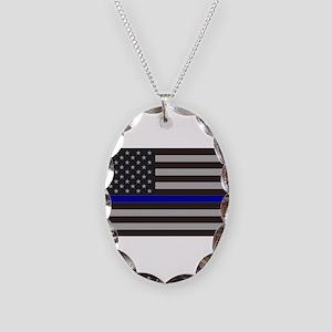 Blue Lives Matter Necklace Oval Charm