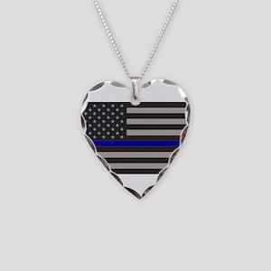 Blue Lives Matter Necklace Heart Charm
