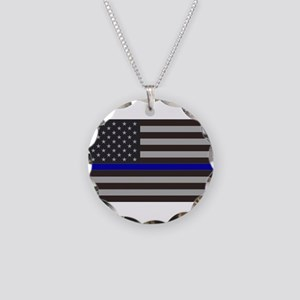 Blue Lives Matter Necklace Circle Charm