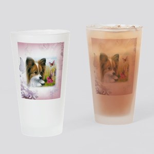 Dog 123 Papillon Drinking Glass