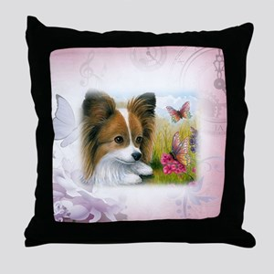 Dog 123 Papillon Throw Pillow