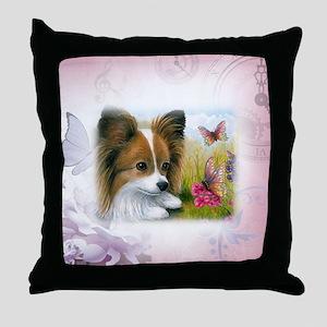 Dog 123 Papillon Throw Pillow