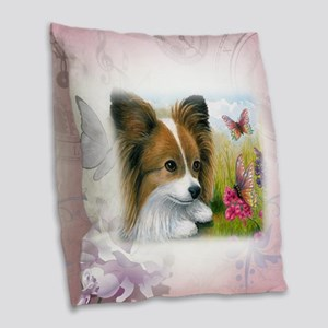 Dog 123 Papillon Burlap Throw Pillow