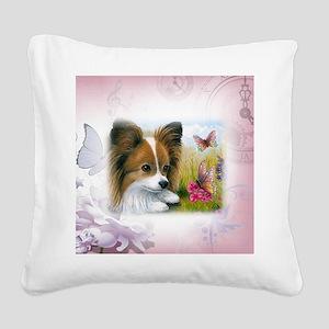 Dog 123 Papillon Square Canvas Pillow