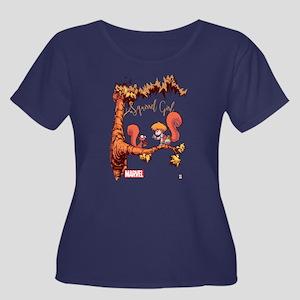 Squirrel Women's Plus Size Scoop Neck Dark T-Shirt