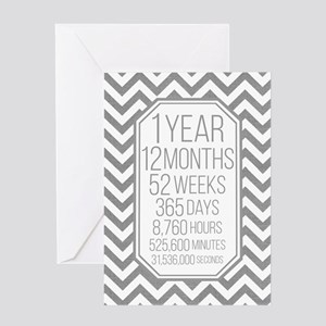 1 Year (gray Chevron) Greeting Cards