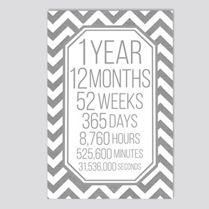1 Year (gray Chevron) Postcards (package Of 8)