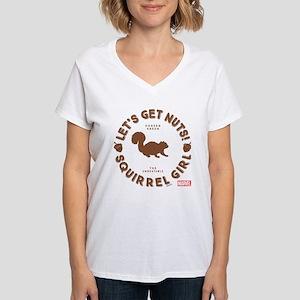Squirrel Girl Let's Get Nut Women's V-Neck T-Shirt