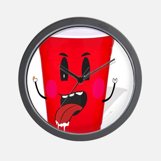 Cups playing beer pong Wall Clock