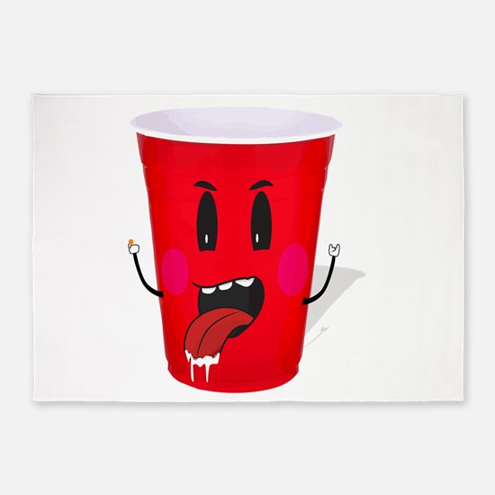 Cups playing beer pong 5'x7'Area Rug