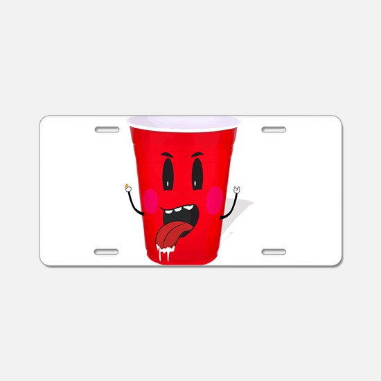 Cups playing beer pong Aluminum License Plate