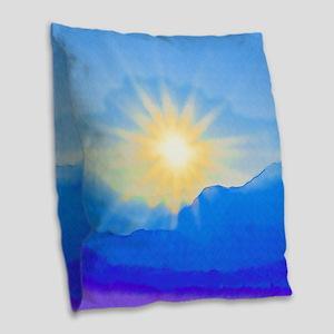 Watercolor Sunrise Burlap Throw Pillow