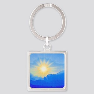 Watercolor Sunrise Square Keychain