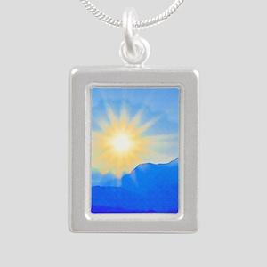 Watercolor Sunrise Silver Portrait Necklace
