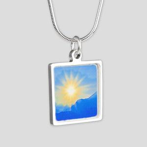 Watercolor Sunrise Silver Square Necklace