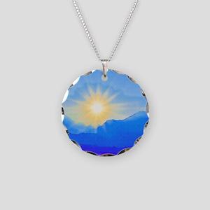 Watercolor Sunrise Necklace Circle Charm