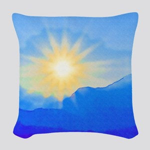 Watercolor Sunrise Woven Throw Pillow
