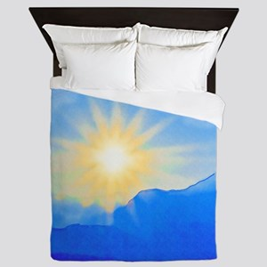 Watercolor Sunrise Queen Duvet