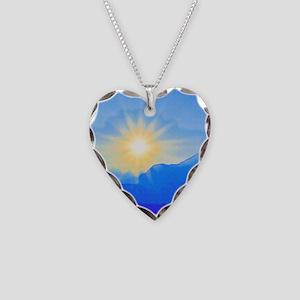 Watercolor Sunrise Necklace Heart Charm