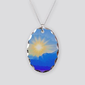 Watercolor Sunrise Necklace Oval Charm