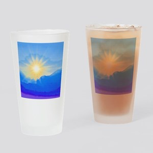 Watercolor Sunrise Drinking Glass