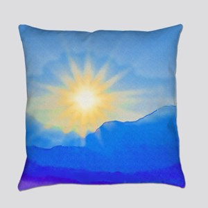 Watercolor Sunrise Everyday Pillow