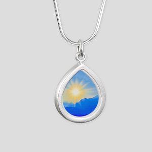 Watercolor Sunrise Silver Teardrop Necklace