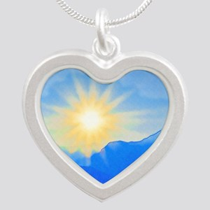Watercolor Sunrise Silver Heart Necklace