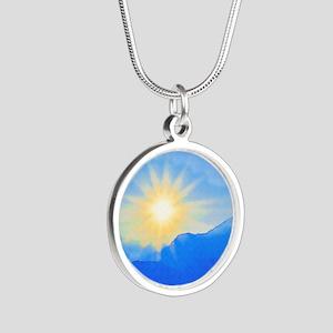 Watercolor Sunrise Silver Round Necklace