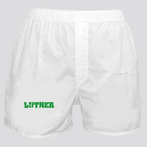 Luther Name Weathered Green Design Boxer Shorts