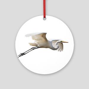 Helaine's Soaring Egret Round Ornament