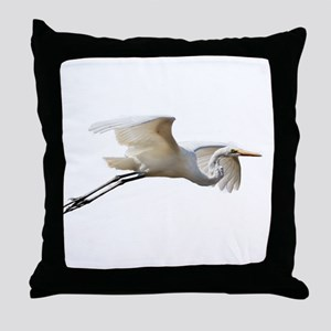 Helaine's Soaring Egret Throw Pillow