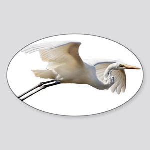 Helaine's Soaring Egret Sticker (Oval)