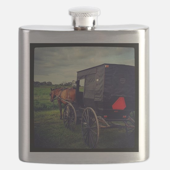 Amish Horse and Buggy Flask