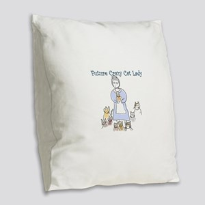 Futurecatlady Burlap Throw Pillow