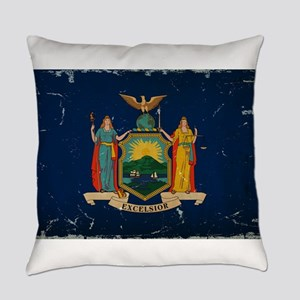New York State Flag VINTAGE Everyday Pillow