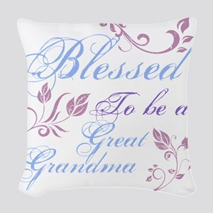 Blessed To Be A Great Grandma Woven Throw Pillow