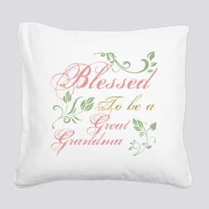 Blessed To Be A Great Grandma Square Canvas Pillow