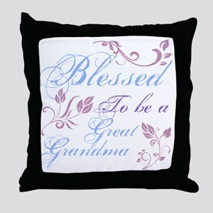 Blessed To Be A Great Grandma Throw Pillow