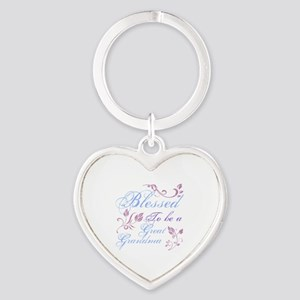 Blessed To Be A Great Grandma Heart Keychain