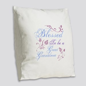 Blessed To Be A Great Grandma Burlap Throw Pillow